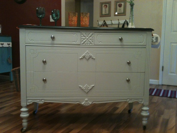 Repurposed Antique Dresser As A Kitchen Island With A: SOLD Kitchen Island Made From Vintage Dresser Upcycled