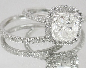 18k white gold cushion cut diamond engagement ring and band 2.30ctw