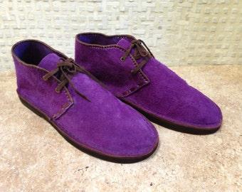 Handcrafted Desert Boot in Purple Suede