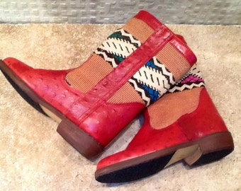 Handmade ostrich leather, kilim boots