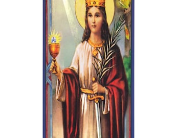 St Barbara Religious Prayer Candle / San Barbara Novena Vigil Candle