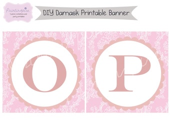 DIY Printable Baptism or Christening Banner - Damask- Personalized with Child's name - Several colors available