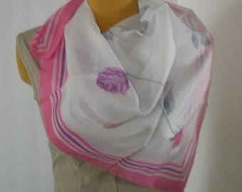 Vintage Italian Polyester Scarf Roses Spring-Time Soft Pinks and Purples Gray On White
