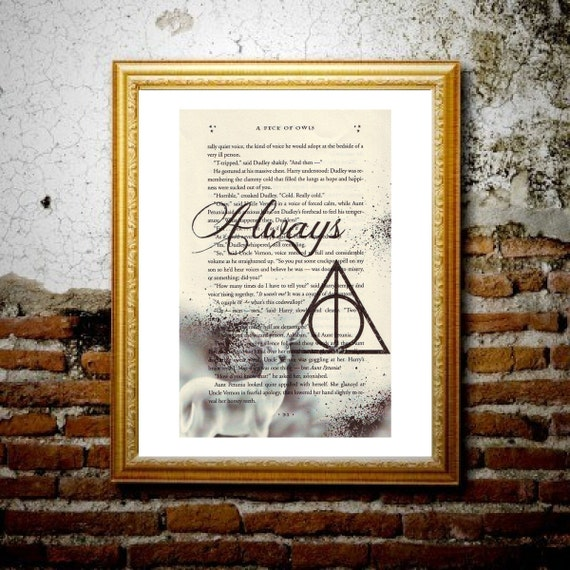 Snape's Always Silver Doe - Harry Potter book page print