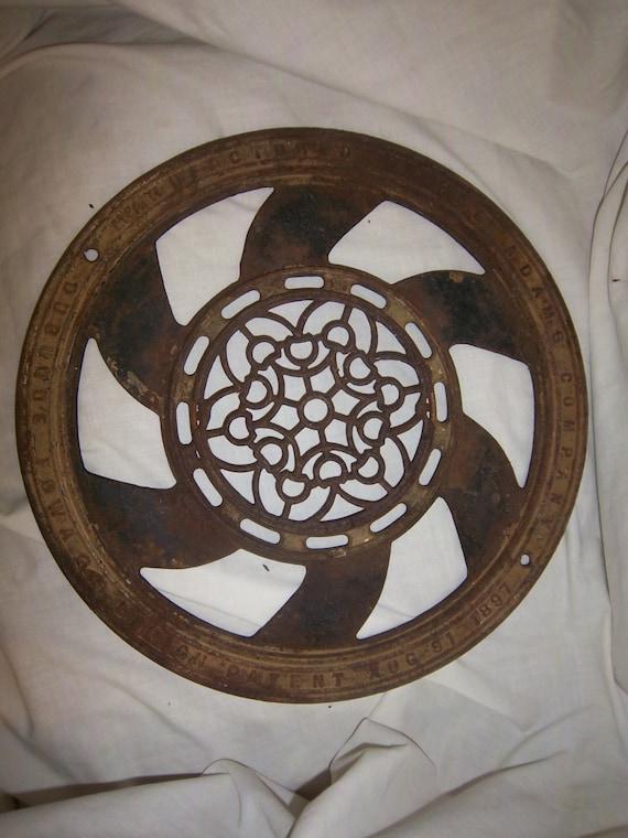 Free Shipping Floor Grate Cast Iron Vent Drain Antique 1897