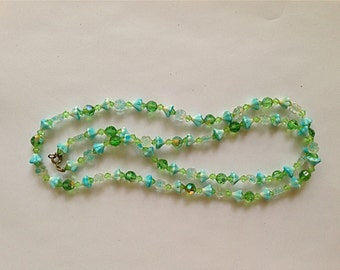 Sale: Single strand Blue Crystal Flower and Green Crystal Necklace