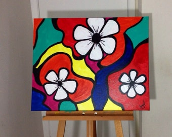 Flower abstract colorful canvas painting 24x30