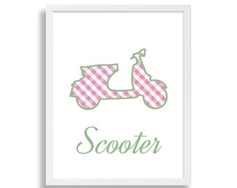 Scooter Nursery Decor Baby Girl's Room Personalized Baby Shower Gift Kid's Room Nursery Print Green and Pink Nursery Room Art Scooter