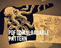 "PDF pattern: Octopus sweater ""Embrace"""