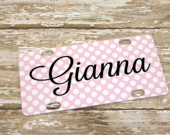 Any color (you choose) Polka Dot or Chevron Custom Personalized Mini License Plate with Initials , Monogram or Name - Kids bicycle