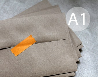 "25 A1 / 4-Bar Kraft Brown Recycled Envelopes - Kraft Envelopes - 3.5x5 inches (true size 3 5/8"" x 5 1/8"")"