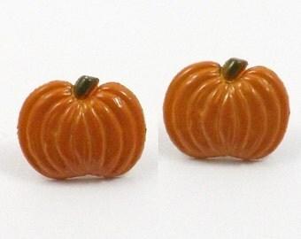 Tiny Pumpkin Earrings - Pumpkin Stud Earrings - Fall Earrings - Halloween Pumpkin Earrings - Mini Pumpkin Post Earrings Thanksgiving Earring