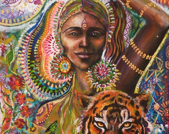 Tiger Butterfly goddess of Strength original art by Isabel Bryna