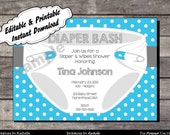 Diaper Invitation for Baby Shower or Diaper Bash Blue - Editable Printable Digital File with Instant Download