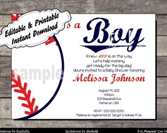 Baseball Baby Shower Invitation - Editable Printable Digital File with Instant Download