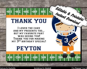 Football Thank You Card Birthday Party Orange and Blue - Editable Printable Digital File with Instant Download