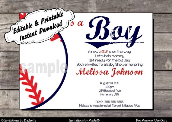 baseball baby shower invitation editable printable digital file with