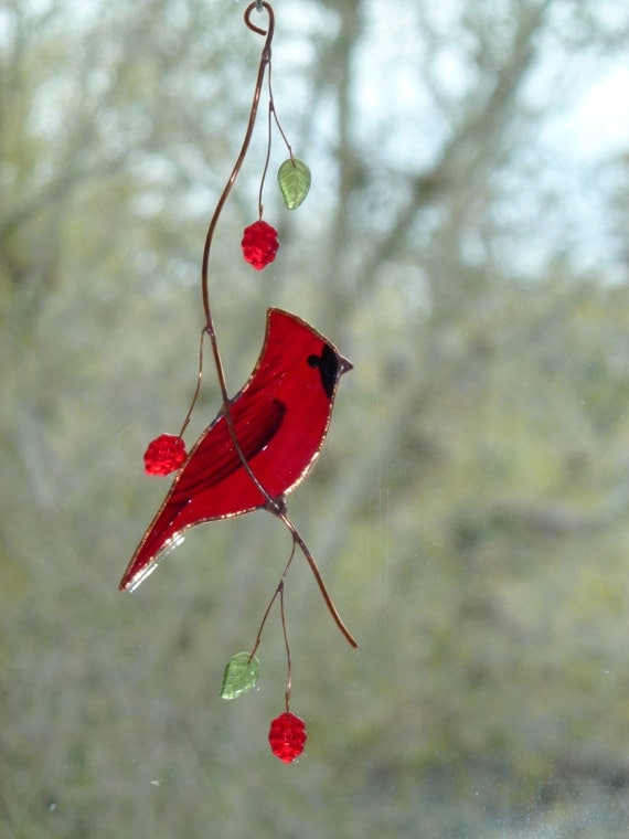 Cardinal stained glass suncatcher