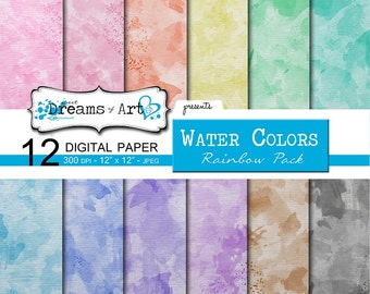 12 Digital Water Colors Paper (Rainbow Pack)