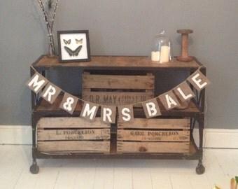 Personalised Hessian Mr & Mrs wedding banner / burlap bunting
