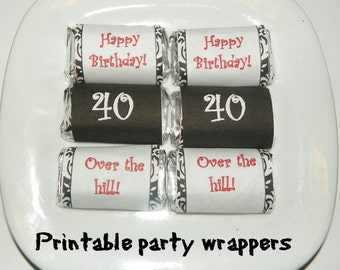40th Birthday Printable Mini Hershey candy wrapper (DIY) Instant Download
