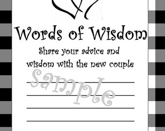 Wedding/Shower Words of Wisdom-DIY Printable