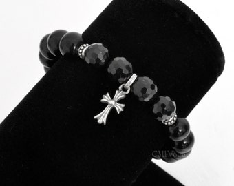 Moving Knight Templar Cross 925 sterling silver and Faceted Round Black Onyx Bracelet, Gemstone Men Women Bracelet