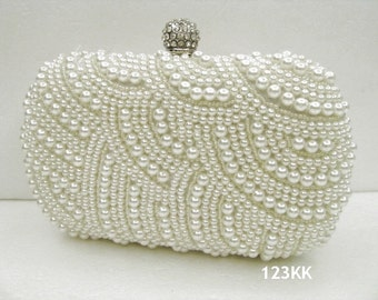 Creamy/Ivory ~New ~Handmade Pearl Bridal Evening Clutch Bag