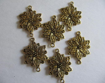 Findings, 10 Jewelry Supply, Filigree Flower, Gold, Earring Base, Chandelier, Supplies, Craft, Necklace Base, Crafting, Art, Womens Neclace,