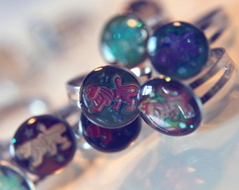 Leo Star Sign Glitter Mood Ring