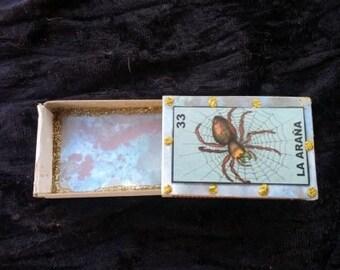 Small la arana/la calavera altered matchbox