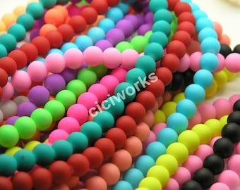Wholesale 240pcs Multi-color Matte Rubber Neon Round Glass Beads 10mm GD240RB59