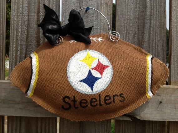 Pittsburg Steelers Burlap Football door hanger - FREE SHIPPING