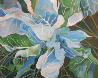 Blue Cabbage. Giclee print of original oil painting