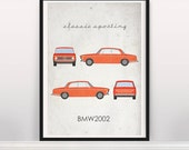 Classic Sporting. BMW2002. Wall Art. Car Graphic. Digital Print. Typography a4 a3 a2
