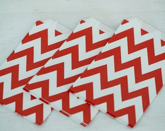 Red Chevron Favor Bags