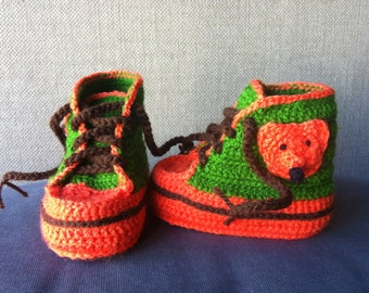 Baby Booties Baby Sneakers Crochet Fox shoes Baby shoes - orange green