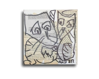 Cat Original Drawing on Collage / Canvas / art mixed media - inch 5,91x5,91x0,79