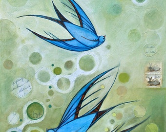 Art print of blue swallow mixed media painting