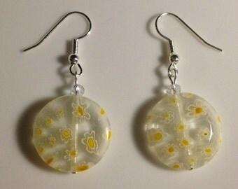 Clear & yellow glass earrings w/ silver