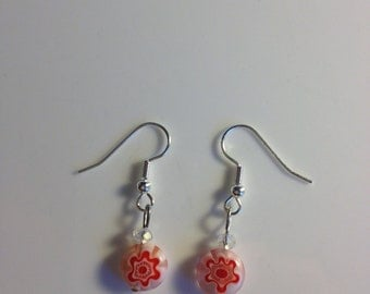 Clear & red glass drop earrings w/ silver hooks