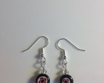 Black, white & red glass drop earrings