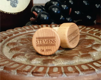 Custom Wine Stopper, Personalized Bottle Stopper, Last Name & Est Date - Engraved Wine Stopper, Anniversary Gift, Wedding Favors(Qty 15+)