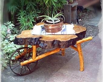 Hand crafted wheel barrow coffee table