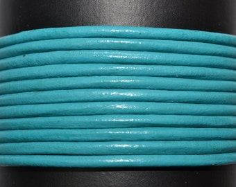 Turquoise - 2mm Leather Cord per yard