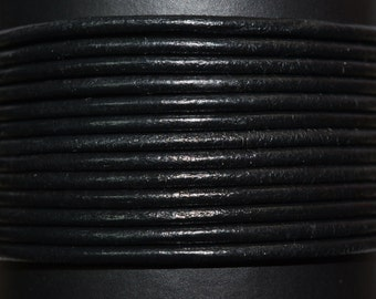 Black - 1.5mm Leather Cord per yard
