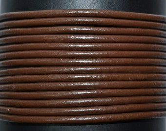 Chocolate Brown / 1mm Leather Cord / leather by the yard / round leather cord / genuine leather / necklace cord / bracelet cord