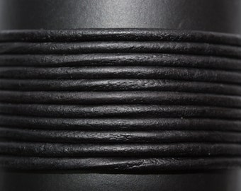 Matte Black / Natural / 1.5mm Leather Cord / leather by the yard / round leather cord / genuine leather / necklace cord / bracelet cord