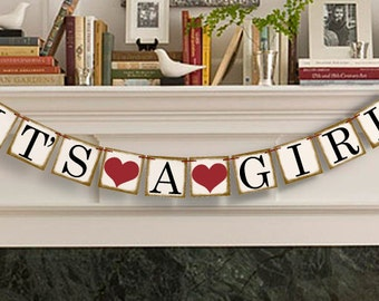 Its A Girl Banner - Party Photo Prop - Baby Announcement Garland - Its A Girl Sign