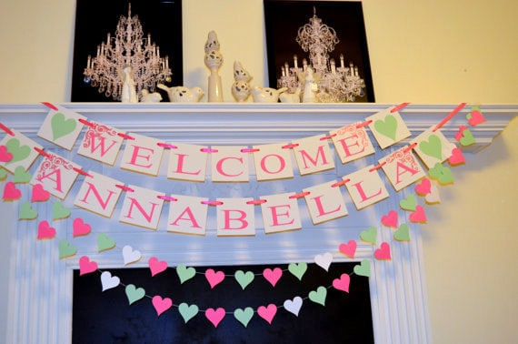 Welcome baby banner and garlands package baby shower for Baby welcome decoration ideas